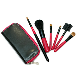 구매하기 Rubine Red Mini Travel Zip Brush Set/메이크업 브러쉬 세트