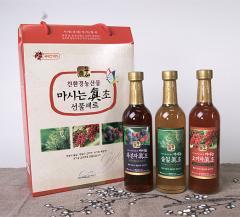 마시는 진초 380ml X 3 / 복분자 / 솔잎 / 오미자 감식초