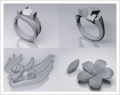 3-D titanium ring and jewelry